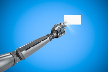 Composite image of graphic image of robotic arm holding placard