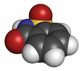Saccharin artificial sweetener molecule, 3D rendering