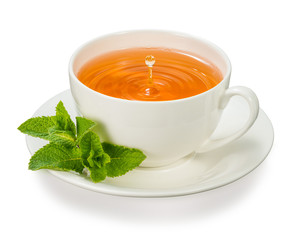 cup of tea with mint leaves