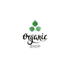 Organic shop. Eco badge with handwritten text and leaves in watercolor style.