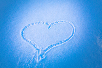 White snow with drown heart shape