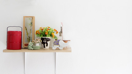Decorated interior on shelf,  put on ceramic and food carrier