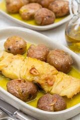 cod fish with potato on dish