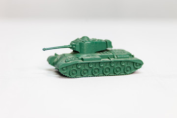 A green US tank from a 1960's play set