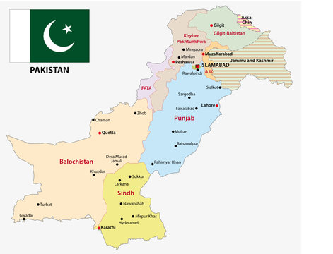pakistan administrative and political map with flag