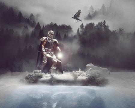Barbarian warrior inspecting the terrain