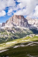 Fototapete - View of Tofane, a mountain group in the Dolomites of northern Italy, west of Cortina d'Ampezzo in the province of Belluno, Veneto.