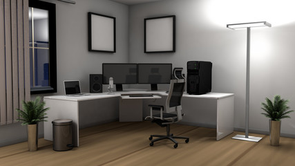 3D illustration of an office setup