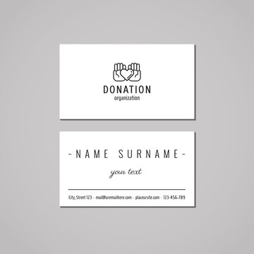 Donations and charity business card design concept. Logo with ha