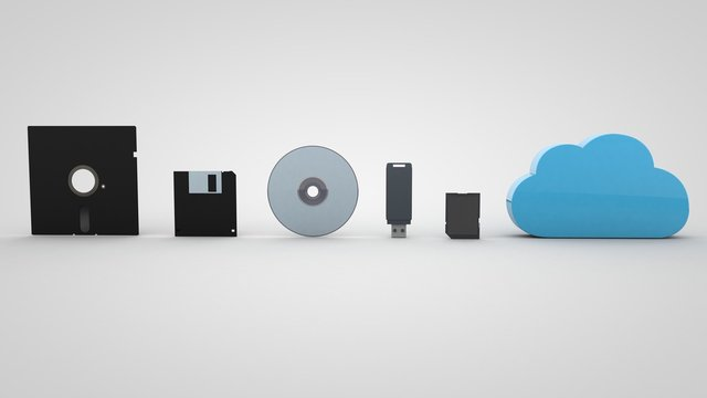 3D illustration of The Evolution Of Storage Devices