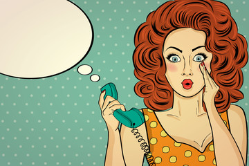 Surprised pop art woman with retro phone, who tells her secrets.