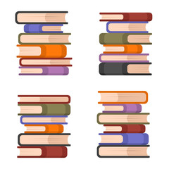 Stacks of Colorful Books Set. Vector