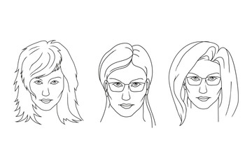 Set of three beautiful woman head.