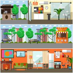 Vector set of gadgets interior concept posters, design elements