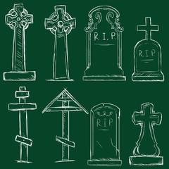 Vector Set of Chalk Cemetery Tombstones