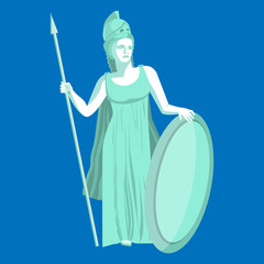 Athena or Athene marble statue on blue background. Pallas goddess