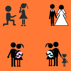 stick figure family story on the orange background