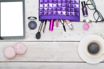 Woman makeup essentials. Flat lay.