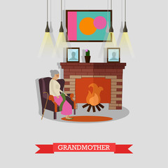 Vector illustration of grandmother sitting in armchair at the fireplace.