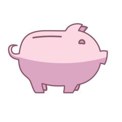 Piggy bank or money box symbol. Thin line linear vector illustration