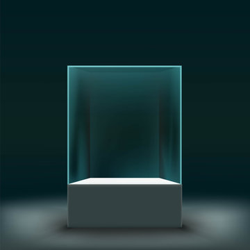 Glass showcase for the exhibition in the form of a cube. Stock v