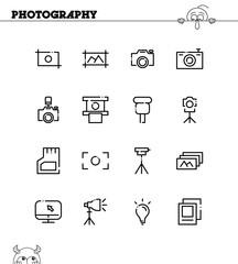 Photography flat icon set.