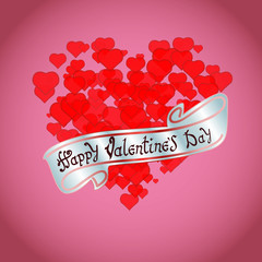 Happy Valentine's day. Hand Drawing Vector Lettering design. The inscription on the silver ribbon. On red hearts background. Concept for congratulations card.