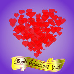 Happy Valentine's day. Hand Drawing Vector Lettering design. The inscription on the gold ribbon. Red hearts on blue background. Concept for congratulations card.