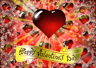 Happy Valentine's day card with Drawing Lettering design. The inscription on the gold ribbon. Colorful vector illustration with bright rays of light and Realistic glass red heart on background.