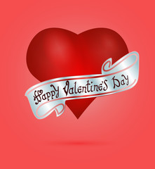Happy Valentine's day. Hand Drawing Vector Lettering design. The inscription on the silver ribbon. On realistic red heart background. Concept for congratulations card.