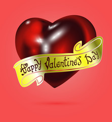 Happy Valentine's day. Hand Drawing Vector Lettering design. The inscription on the gold ribbon. Realistic red heart on background. Concept for congratulations card.