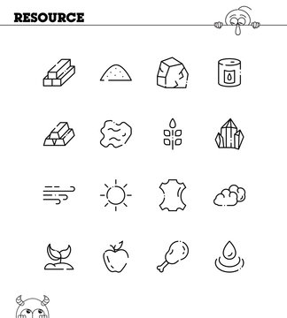 Resourse flat icon set.