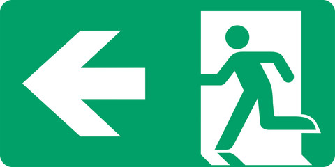 ISO 7010 E001 Emergency exit (left hand)