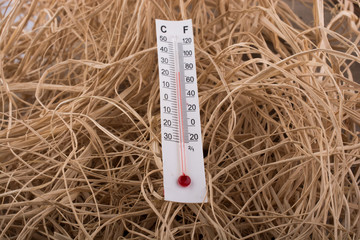 Thermometer placed  on a brown straw background