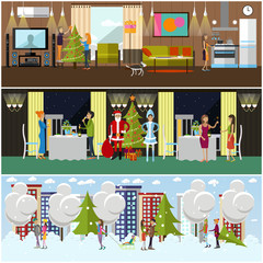 Vector set of banners with New Years celebration design elements