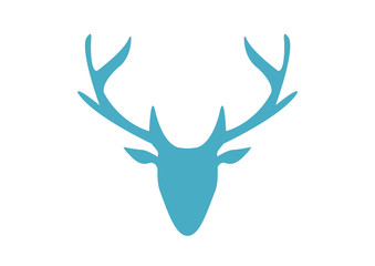 One blue silhouette deer on white background