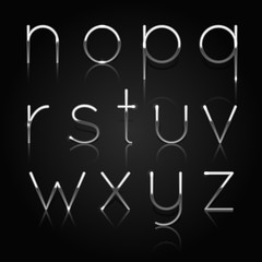 Silver alphabet. Set of silver letters isolated on black background. Vector Illustration