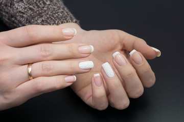 Beautiful hands and natural nails, ideal clean manicure. Decorated with stylish elements