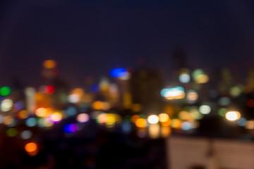 blurred bangkok cityscape night lights colorful cityscape bokeh,