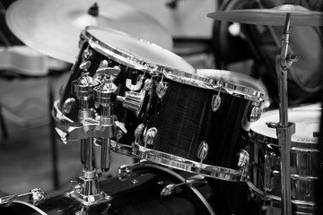Detail of a drum kit in black and white