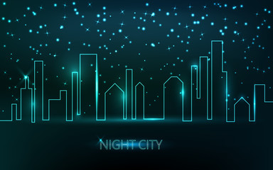 Vector abstract  city view at night. Neon skyscrapers skyline.