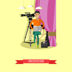 Vector illustration of producer reading screenplay in flat style
