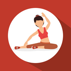 woman athlete avatar fitness sport vector illustration design