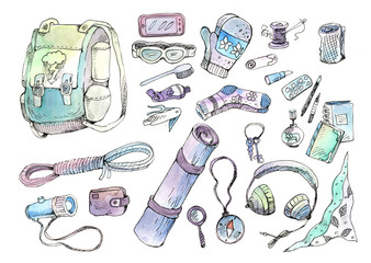 Objects for camping, tracking and hiking, illustration
