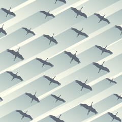 Seamless abstract background flock of cranes.
