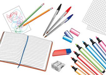 penne, quaderno, pennarelli, articoli scuola cartoleria cancelleria