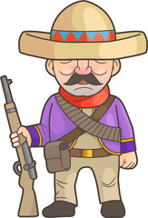 Mexican cartoon soldier with a rifle in his hand