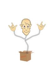 Humorous figurine of the box.