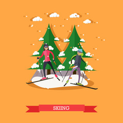 Vector illustration of people skiing in flat design