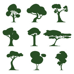Set of stylized trees. Silhouette. Natural illustration. Icon. Eekologiya. Vector.